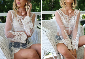 Hollow Out Mesh Summer Style Long Sleeve Lace Women Elegant Evening Party Dress Top