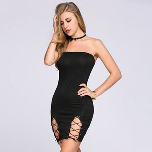 Hollow Out Off Shoulder Strapless Bodycon Dress Verkadi.com
