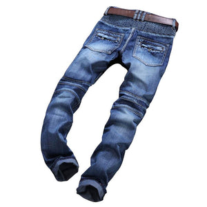 Biker Designer Light Ripped Moto Stretch Denim Jeans Verkadi.com