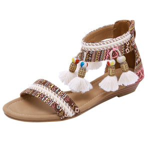 Leather Bohemian Rhinestone Ethnic Wind Summer Sandals
