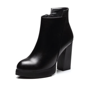 Pointed Toe Square High Heel Women Ankle Boots Verkadi.com