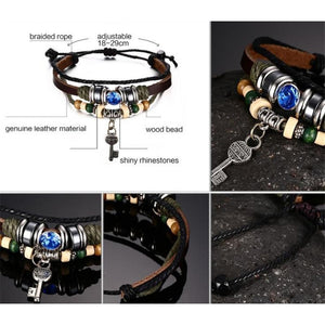 Hip Woven Calfskin Rope Wood Bead Key Unisex Bracelet