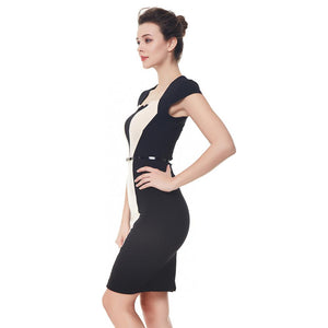 New Twin Color Block Belted Pencil Office Dress