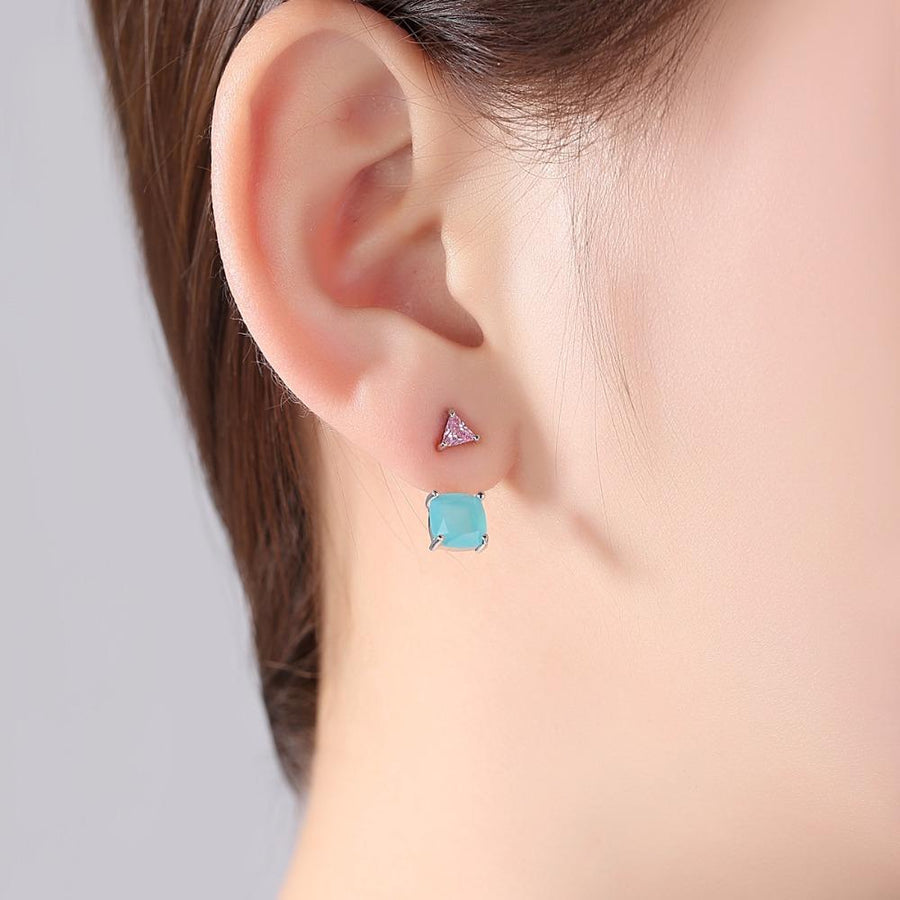 CZ Stones Geometric Crystal Stud Earrings Verkadi.com