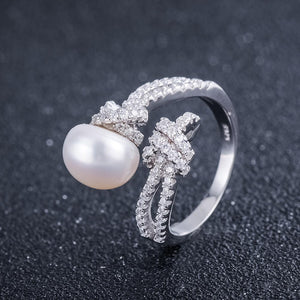 Sterling Silver CZ Clear Open Pearl Ring Verkadi.com