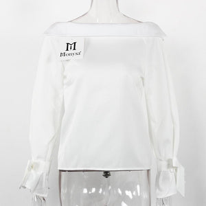 Long Sleeve Off Shoulder Casual Blouses Top Shirt Verkadi.com