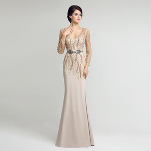 Beaded Pearls Elegant Chiffon Evening Event Dress Verkadi.com