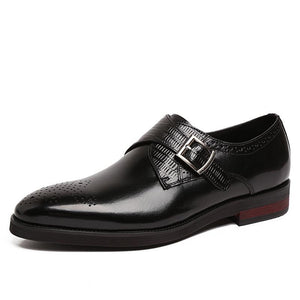 Crocodile Pattern Slip-On Leather Dress Shoes Verkadi.com