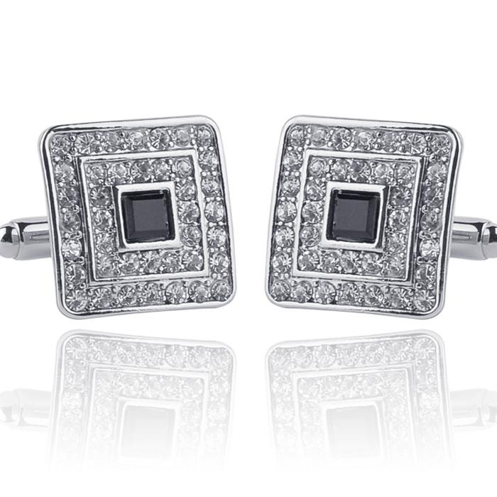 Stylish Black Crystal Gold Silver Cuff Links Verkadi.com