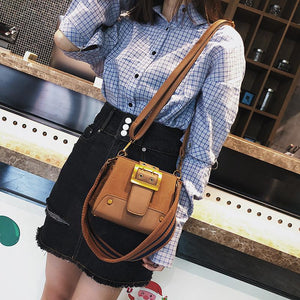 Rivet Messenger Bags Small Flap Pin Type Pu Leather Wide Shoulder Strap