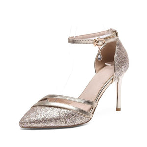 Bling Crystal Pencil Heels Ankle Strap Pumps Sandals Verkadi.com