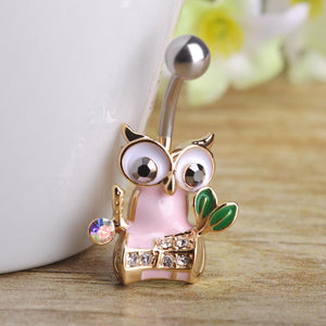 Owl With Crystals Navel Piercing Belly Button Ring Verkadi.com