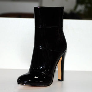 Pointed Toe Chunky High Heels Ankle Boots