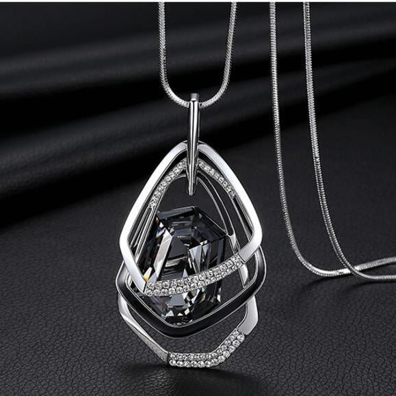Trendy Crystal Polygon Collier Geometric Accent Pendant