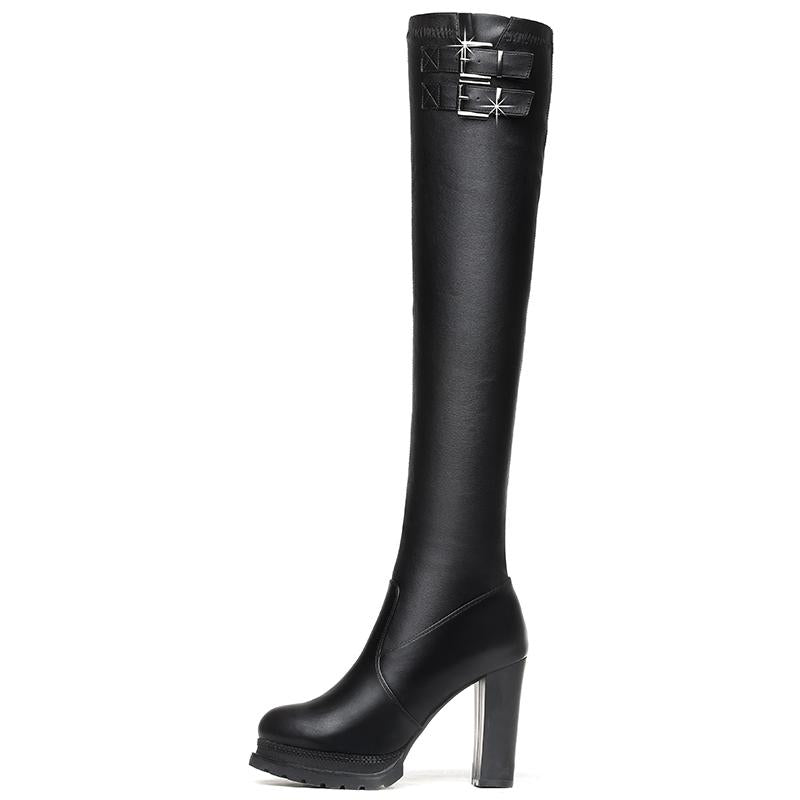 Microfiber Over The Knee High Chunky Boots Verkadi.com