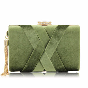 Quality Suede Tassels Evening Wedding Clutch Purse