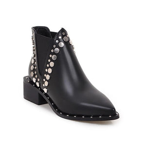 Pointed Toe Black Ankle Riveted High Street Style Boots Verkadi.com