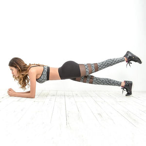 Mesh Patchwork Geometric Printed Workout Leggings