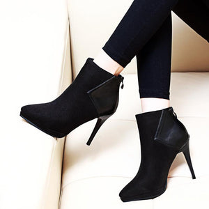 Trendy Black Flock Leather Ankle Pointed Toe Boots Verkadi.com