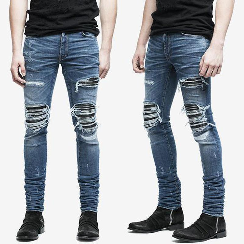 Ripped Skinny Biker Jeans Destroyed Frayed Slim Fit