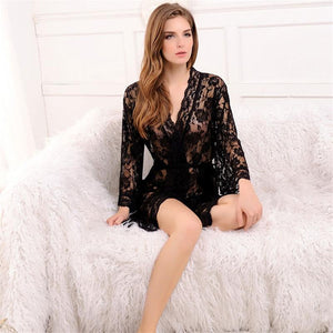 Sexy Transparent Lace Mini Sleepwear Robe Verkadi.com