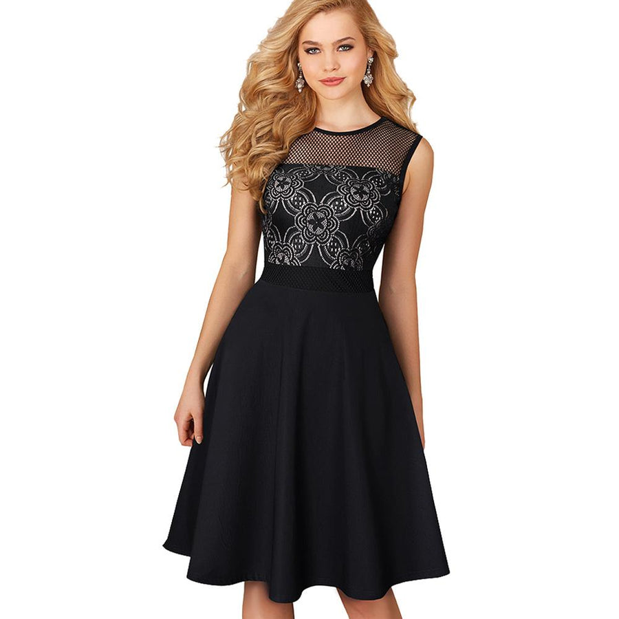 Vintage Floral Lace Sleeveless A-Line Party Dress
