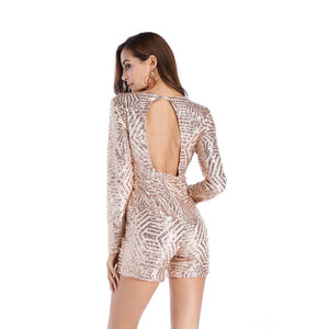 Sexy V Neck Backless Romper Club Party Dress Verkadi.com