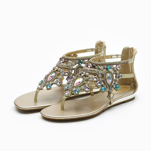Open Toe Flat Colorful Rhinestone Bohemia Style Sandals Verkadi.com
