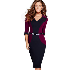 Elegant V Neck Belted  Bodycon Business Dress Verkadi.com