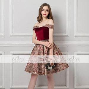 Short 3D Print Off Shoulder Lace Up Prom Party Dress Verkadi.com
