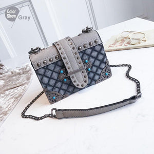 Vintage Denim Cross Body Rivet Design Shoulder Bag Verkadi.com