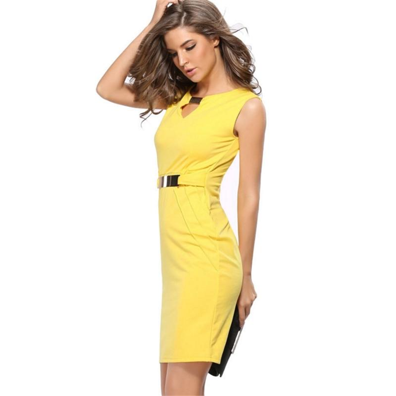 Sequin Professional Office High Waist Sleeveless Pencil Skirt Dress