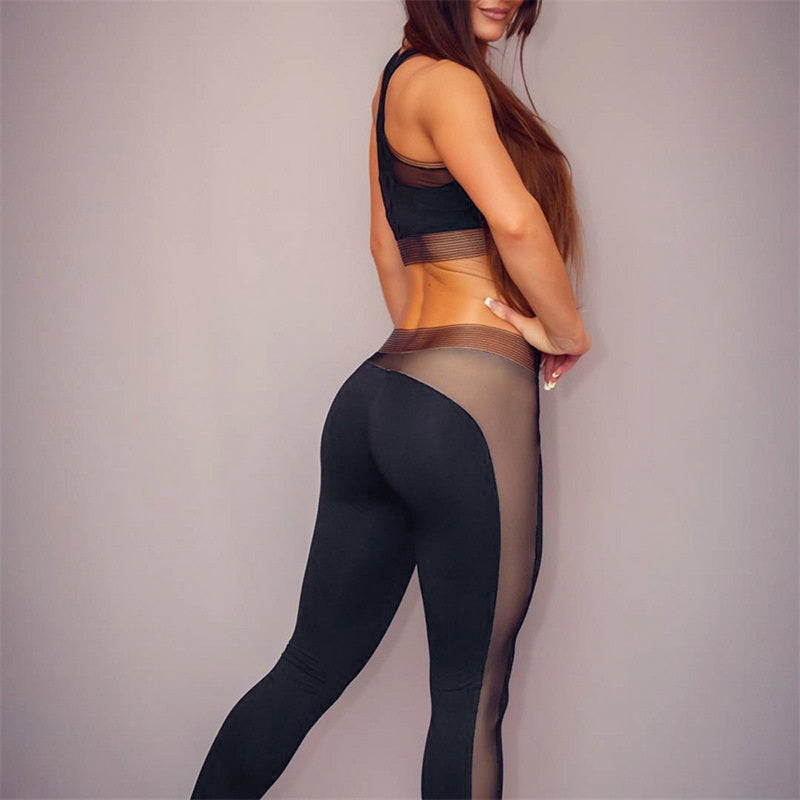 Sexy Mesh Push Up High Waist Crop Top Sportswear Yoga Set