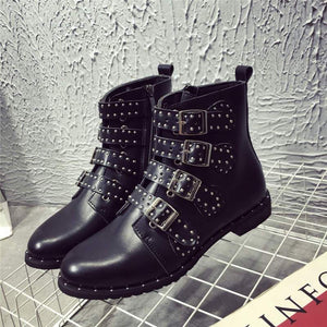 New Era Square Heels Rivets Motorcycle Style Ankle Boots Verkadi.com