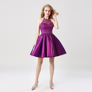 Short Halter Sleeveless Taffeta Beading Prom Dress Verkadi.com