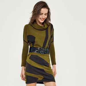 Smart Knitted Bat Wing Sleeve Turtleneck Bodycon Dress
