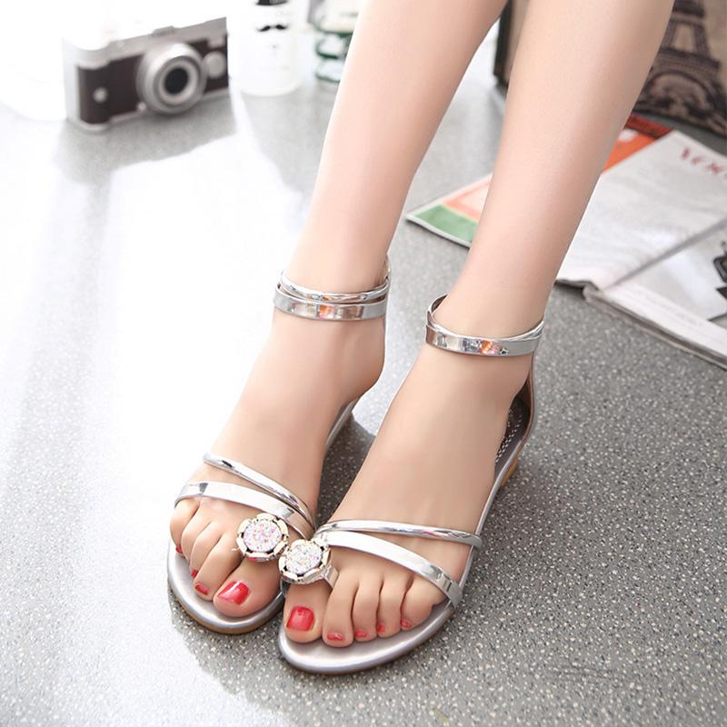 Crystal Back Zipper Casual Flat Comfortable Sandals