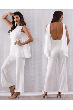 Cool Halter Bat-Wing Sleeve Backless Runway Jumpsuit Dress