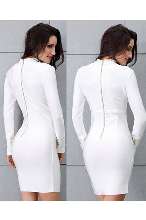 Elegant White Stand Neck Long Sleeve Hollow Out Mini Dress