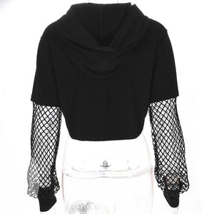 Hip Smart Crop Hollow Out Street Wear Top Sweatshirt Hoodie Verkadi.com