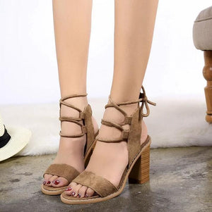 Open Toe Cross Strap High Chunky Heels Sandals Verkadi.com