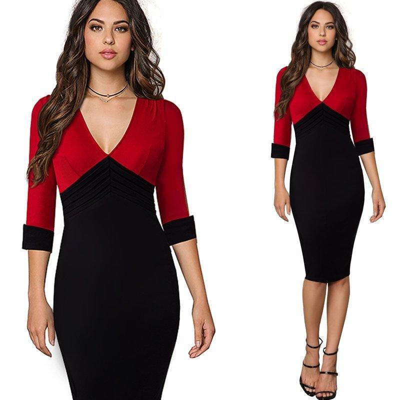 62a6663dc45 Trendy Color Block Contrasting Business Office Bodycon Dress