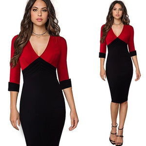 Trendy Color Block Contrasting Business Office Bodycon Dress