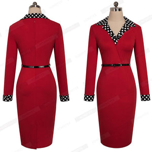 Vintage Turn Down Collar Belted Sheath Work Dress Verkadi.com