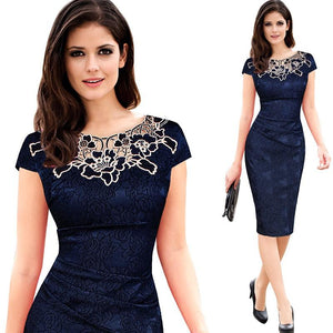 Formal Office Pencil Skirt Lace Neck Dress