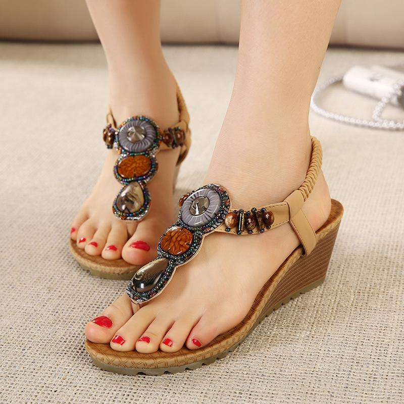 Summer Bohemia Platform Wedges Sandals 2ae3945b04ae