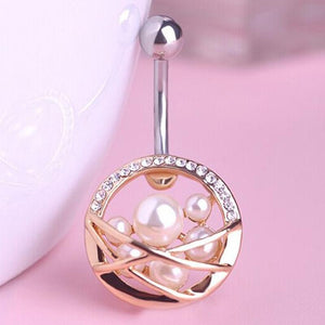 Pearl Navel Piercing Surgical Steel Belly Button Ring
