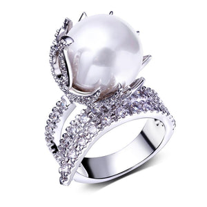 Simulated Pearl Cubic Zircon Prong Ring