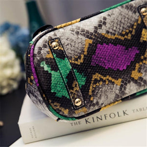Serpentine PU Leather Cross Body Shoulder Bag