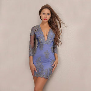 New Embroidery Lace Body Con Elegant Dress Verkadi.com